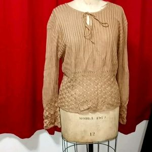 Time and a half Tan crochet/knit bottom top 3x